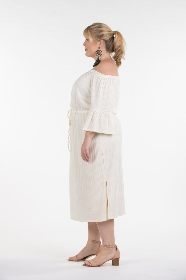 Womens Cream Ribbed Knit Plus Size Dress