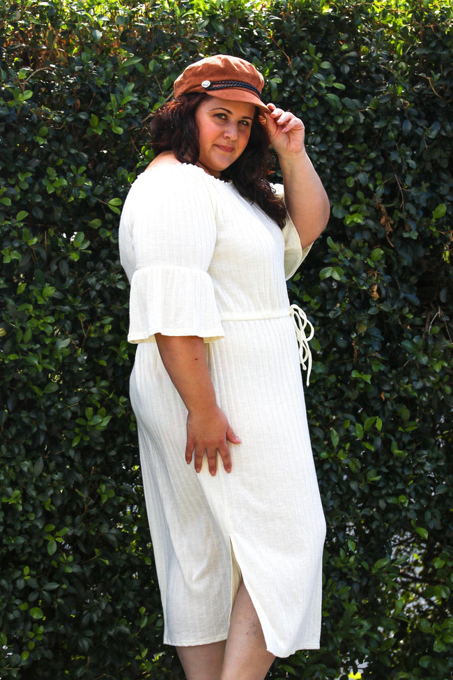 Plus Size Cream Ribbed Knit Dress