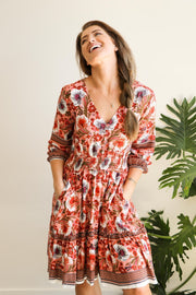 Poppy Retro Floral Boho Dress Feather Fox Boutique