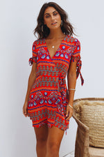 Red Boho Wrap Dress Womens Clothing Feather Fox