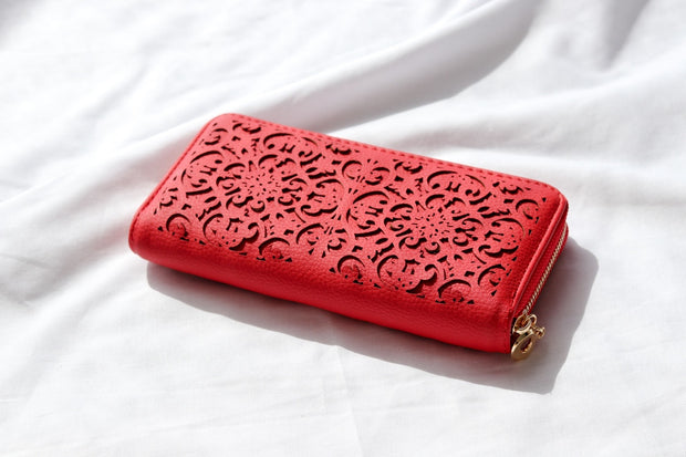 Red Vegan Leather Wallet Feather Fox Boutique