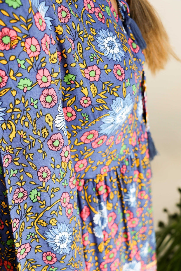 Retro Floral Tunic Dress Feather Fox Boutique