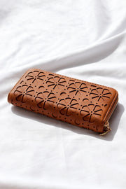 Retro Flower Tan Vegan Leather Wallet Boho Feather Fox Boutique