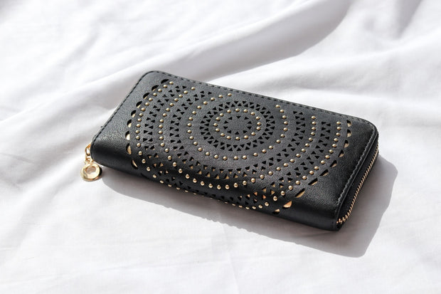 Retro Studded Black Vegan Leather Wallet Feather Fox Boutique Burleigh Heads