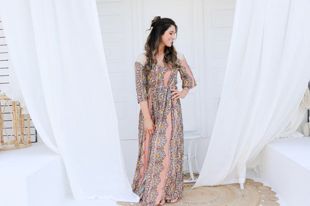 Retro Summer Boho Maxi Dress Feather Fox Boutique Burleigh Heads