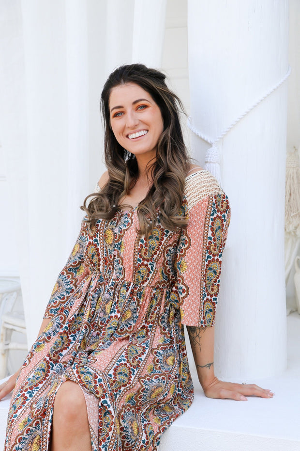 Retro Summer Boho Maxi Dress Feather Fox Boutique Gold Coast