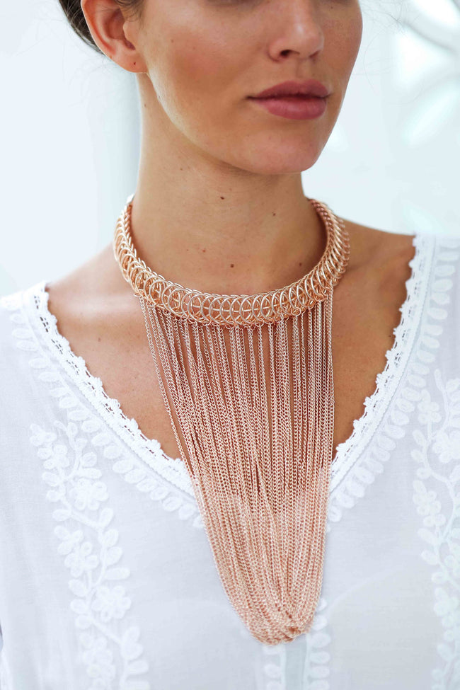 Rose Gold Loop Fringe Necklace Feather Fox