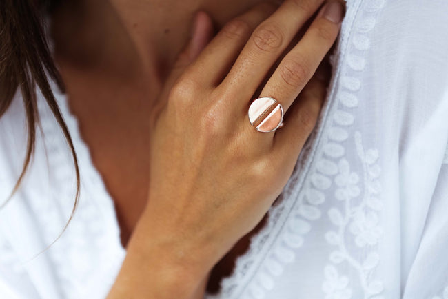 Rose Gold Two Half Circle Women's Ring from Feather Fox