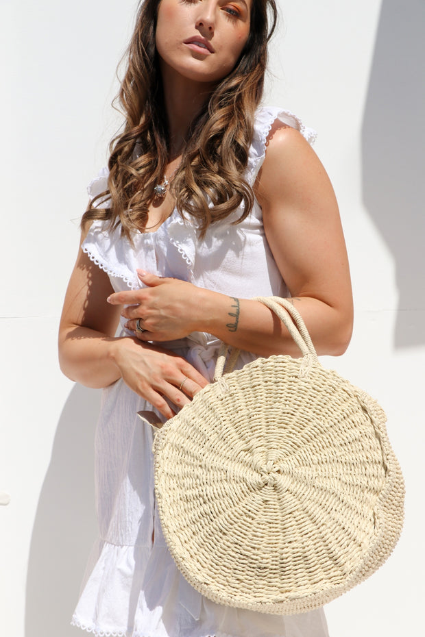 Round Woven Straw Basket Bag Feather Fox Boutique Burleigh Heads