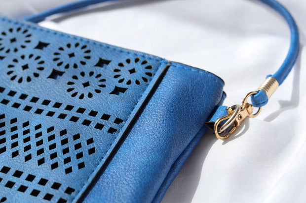 Royal Blue Boho Vegan Leather Zip Pouch Crossover Bag Feather Fox Boutique Gold Coast