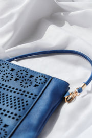 Royal Blue Boho Vegan Leather Zip Pouch Crossover Bag Feather Fox Boutique Burleigh Heads