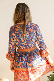 Royal Blue Retro Floral Boho Tunic Dress Feather Fox Boutique Gold Coast