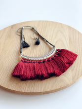 Ruby Red Fringe Necklace