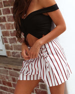 Rust Red and White Candy Stripe Shorts Feather Fox