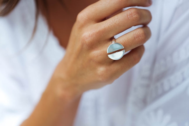 Silver Two Half Circle Women's Ring from Feather Fox Boutique
