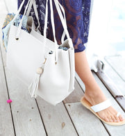 Stone Large Tote Bag with Tassel