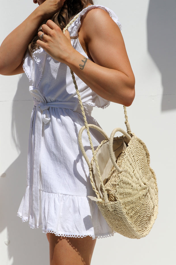 Round Woven Straw Basket Bag Feather Fox Boutique Gold Coast