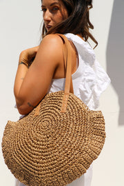 Summer Coffee Round Straw Bag Feather Fox Boutique Gold Coast