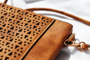 Tan Boho Vegan Leather Zip Pouch Crossover Bag Feather Fox Boutique QLD