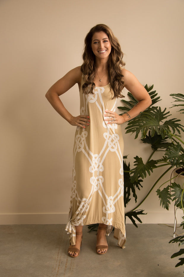 Taupe Rope Print Maxi Dress Feather Fox Boutique