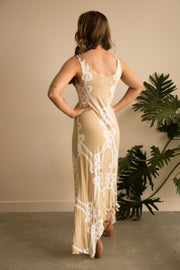 Taupe Rope Print Maxi Dress Feather Fox Boutique Gold Coast