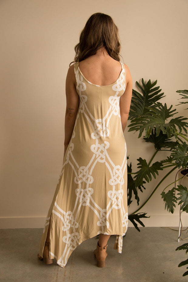 Taupe Rope Print Maxi Dress Feather Fox Boutique Gold Coast Queensland