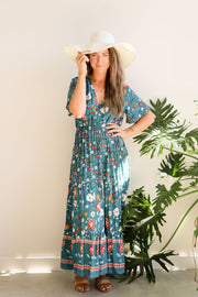 Teal Vintage Floral Maxi Dress Feather Fox Boutique