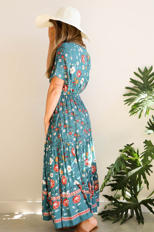 Teal Vintage Floral Maxi Dress Feather Fox Boutique Australia