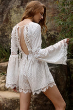 Toorak White Lace Boho Playsuit Feather Fox