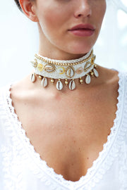 Tribal Shell Beaded Choker Boho Necklace from Feather Fox Boutique