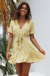 Vintage Floral Yellow Dress