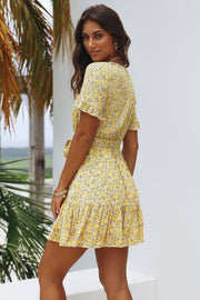Vintage Floral Yellow Dress Feather Fox