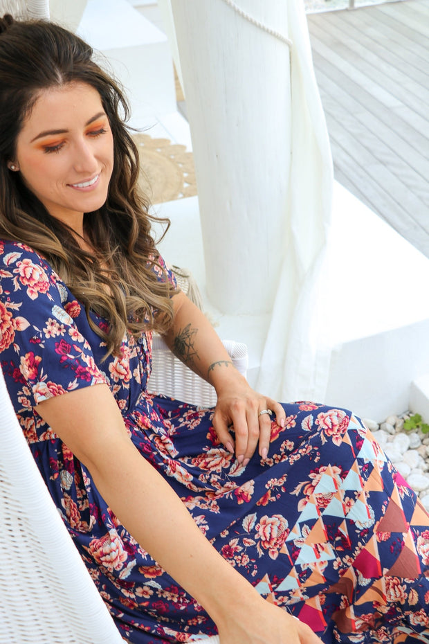 Vintage Navy Floral Boho Maxi Dress Feather Fox Boutique QLD