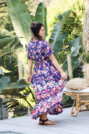 Vintage Navy Floral Boho Maxi Dress Feather Fox Boutique Queensland