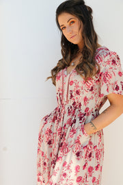 Vintage Pink Floral Maxi Dress Feather Fox Boutique Burleigh Heads Gold Coast