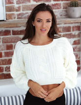 White Cable Crop Knit Top
