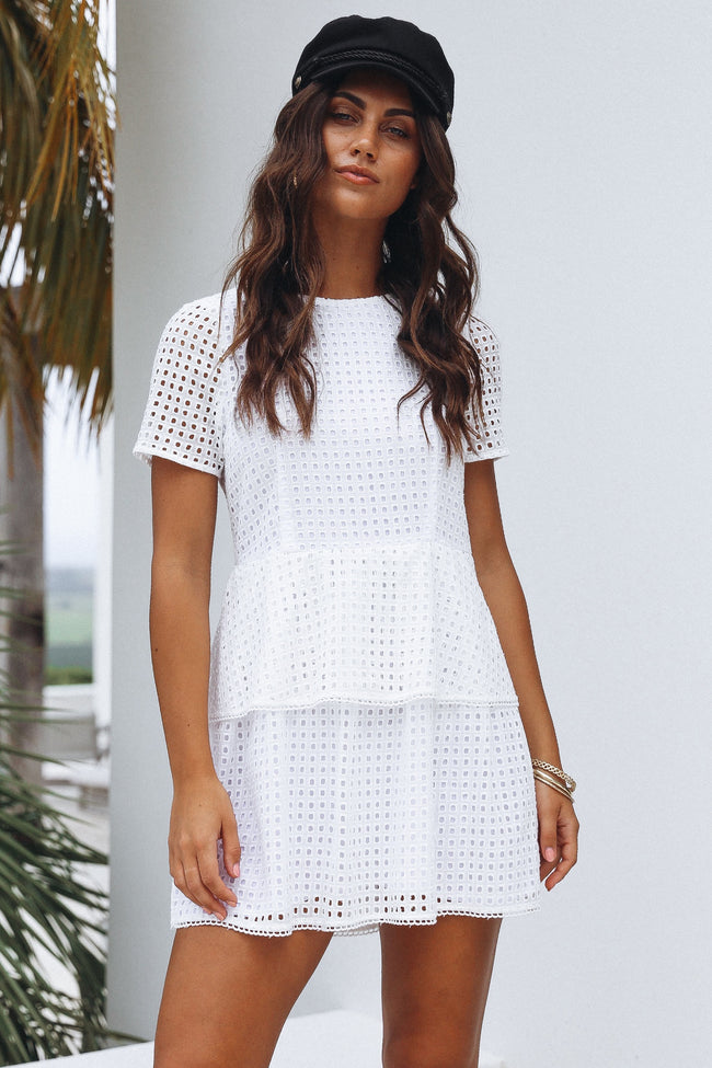 White Embroidered Lace with Sleeves Dress