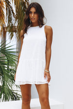 White Embroidered Lace Short Dress