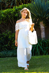 White Long Dress with Lace Details