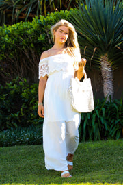 White Long Dress with Lace Feather Fox Boutique