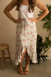 White Resort Floral Maxi Skirt - Boho Skirt Feather Fox Boutique Gold Coast