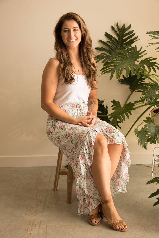White Resort Floral Maxi Skirt - Boho Skirt Feather Fox Boutique