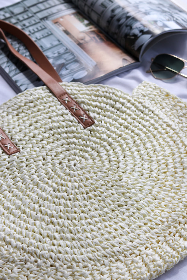 Womens White Round Straw Bag Feather Fox Boutique Australia