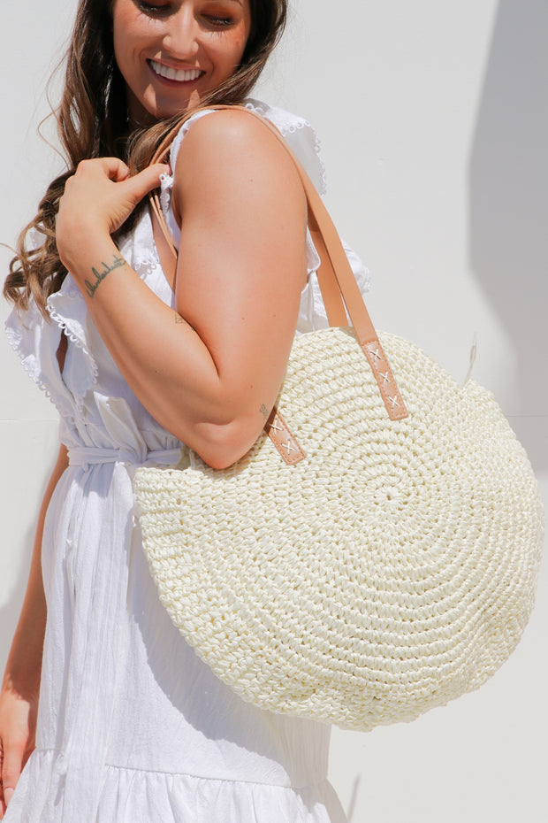 White Round Straw Bag Feather Fox Boutique Burleigh Heads