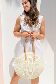 White Round Straw Bag Feather Fox Boutique Gold Coast