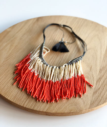 White and Orange Beaded Necklace