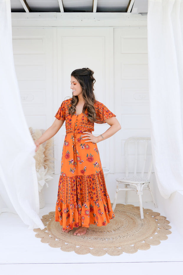 Willow Short Sleeve Floral Maxi Dress Feather Fox Boutique