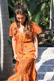 Feather Fox Boutique Boho Short Sleeve Floral Maxi Dress