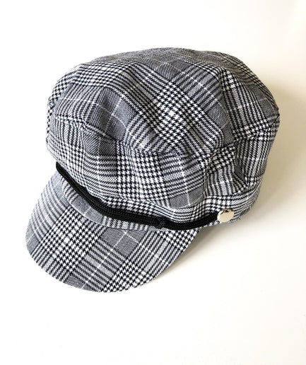 Black and White Tartan Conductor Women's Cap