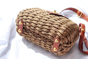 Brown Wicker Woven Clutch Bag Feather Fox Boutique Burleigh Heads